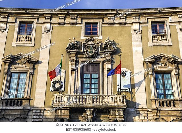 Elephants Palace (Palazzo degli Elefanti), currently Town Hall of Catania city on the east side of Sicily Island, Italy