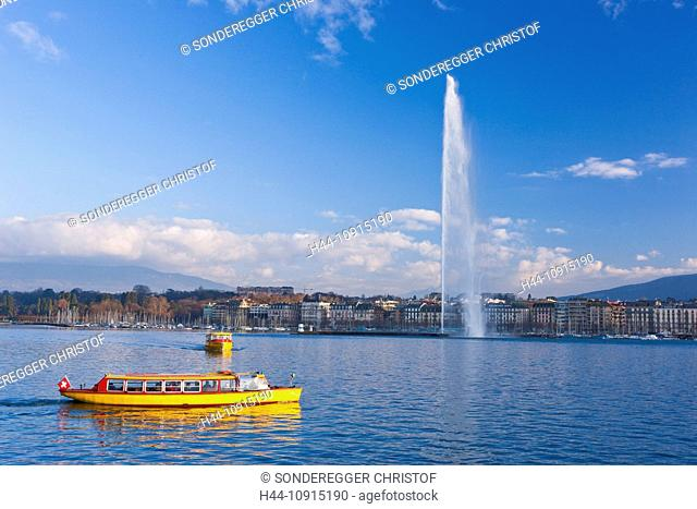 Autumn, town, city, canton, Geneva, Switzerland, Europe, Switzerland, Europe, Lake Geneva, fountain, Jet d'Eau, fountain, boat