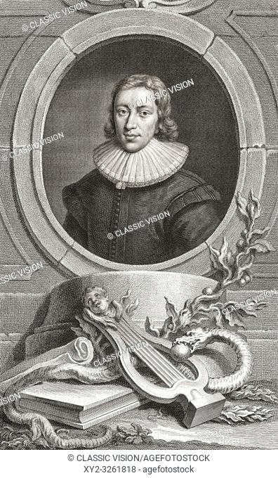 """John Milton, 1608 â. """" 1674. English poet, polemicist, man of letters, and civil servant. From the 1813 edition of The Heads of Illustrious Persons of Great..."""