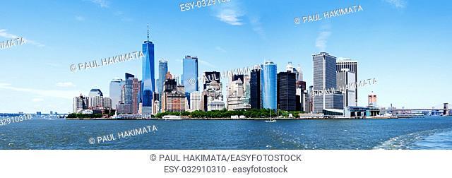 Panorama of Landmark New York City Manhattan Skyline and World Trade Center Freedom Tower