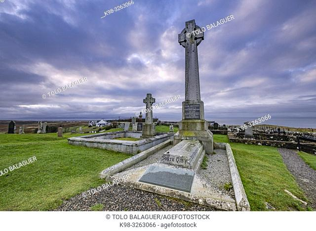 Monument to Flora MacDonald, Kilmuir Cemetery, Kilmuir, (Cille Mhoire), west coast of the Trotternish Peninsula, Isle of Skye, Highlands, Scotland