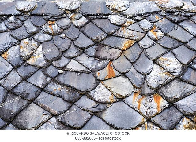 Italy, Valle Aosta, Detail of a Stone Roof of a Typical House