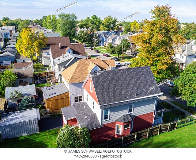 Looking down from above at a residential area of South Buffalo New York United States