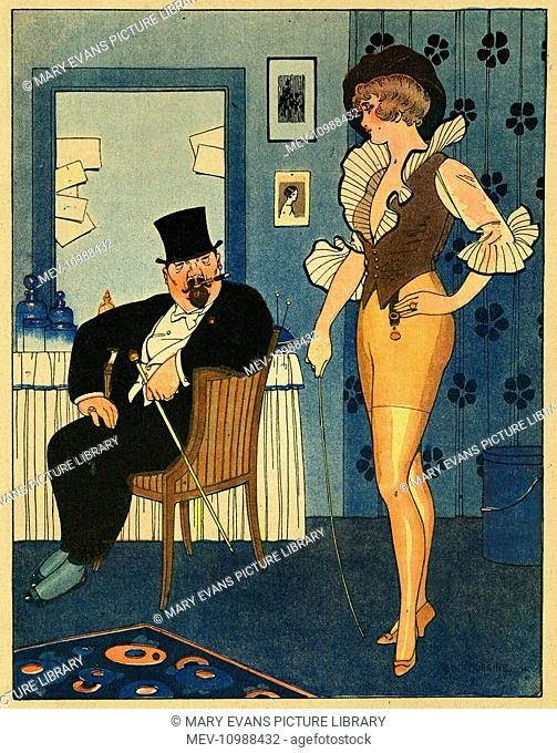 Cartoon, a nouveau riche man, who has made his money from the war, tells a showgirl that he arrived in Paris in clogs, and he won't blush to admit it