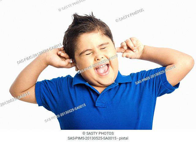 Close-up of a boy shouting