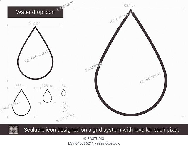 Water drop vector line icon isolated on white background. Water drop line icon for infographic, website or app. Scalable icon designed on a grid system