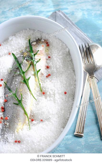 Salt crusted sea bass