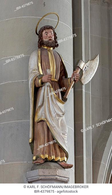 Apostle Matthias, larger than life wooden statue of 1552, minster St. Nikolaus, Überlingen, Lake Constance, Baden-Württemberg, Germany