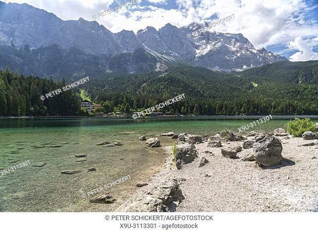 Lake Eibsee at the base of the Zugspitze, Germany's highest mountain, Grainau, Bavaria, Germany