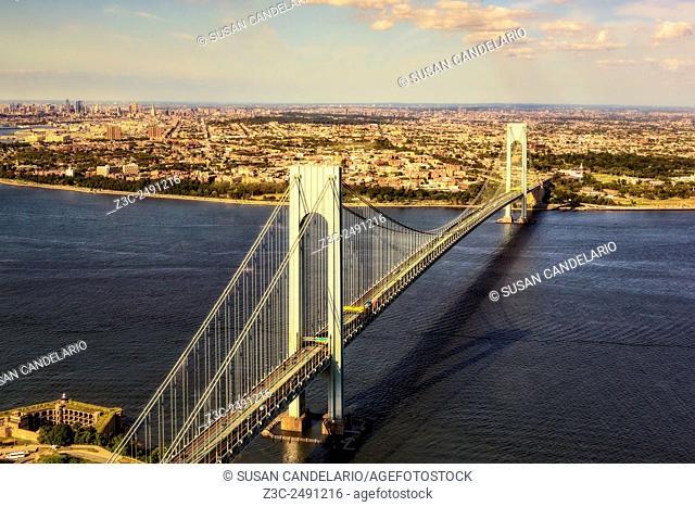 Verrazano Narrows Bridge Aerial View - Upper view of the Verrazano Narrows Bridge which connects the boroughs of Staten Island and Brooklyn in New York City