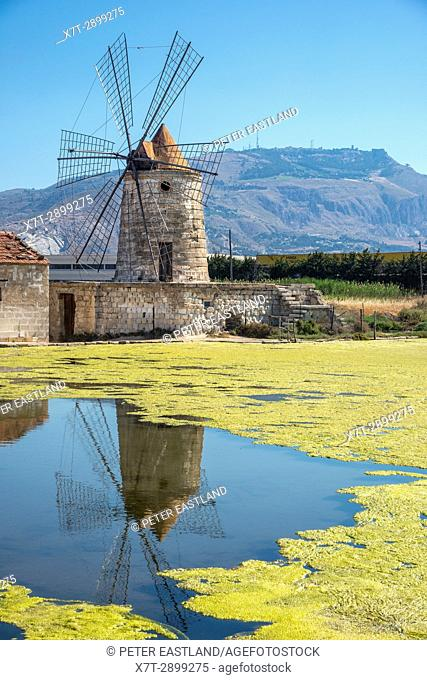 restored windmill for salt production at Trapani, on the west coast of Sicily, Italy