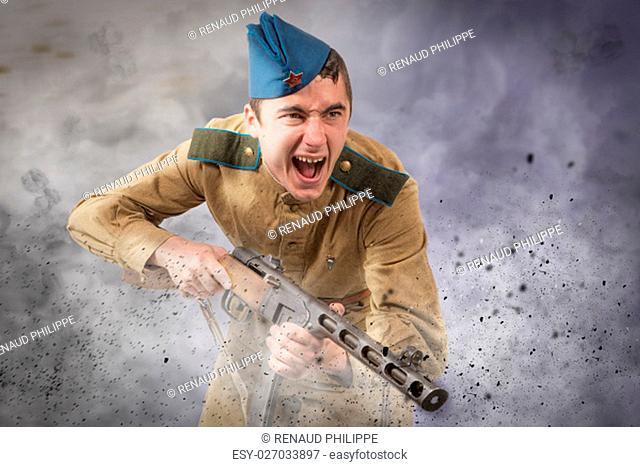 young Soviet soldier ww2 with machine gun, attack
