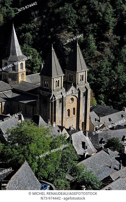 France, Aveyron 12, Conques, Sainte-Foy abbey church (11th-12th centuries), a stop in the pilgrimage way to Santiago de Compostela