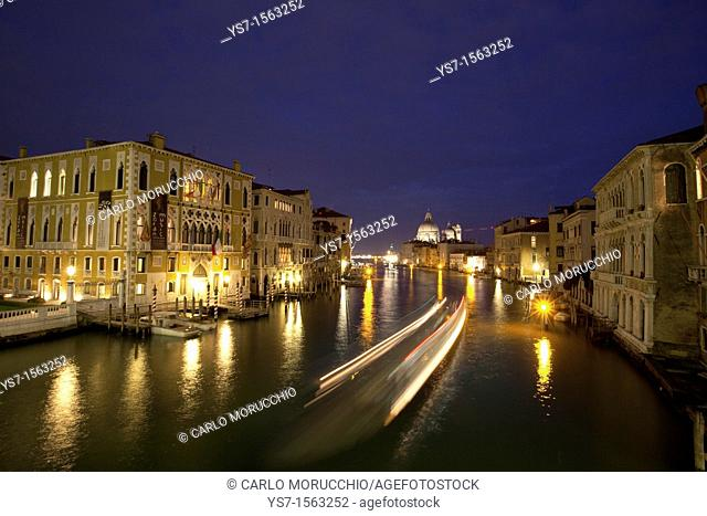 Night view of the Grand Canal and Salute church from Accademia bridge, Venice, Italy, Europe