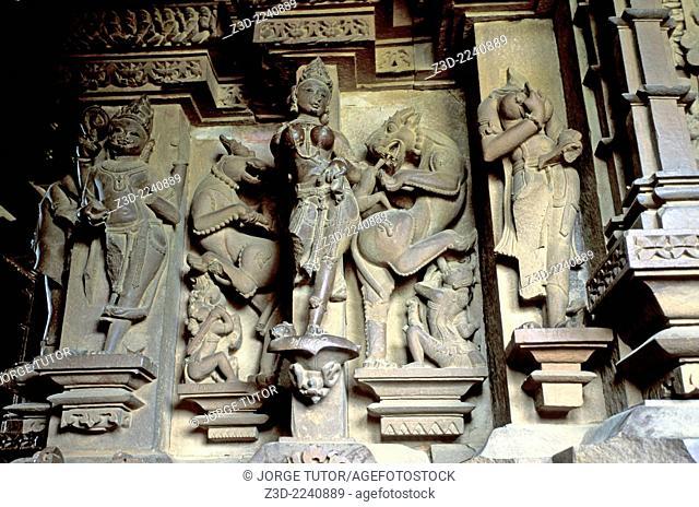 Exquisite stonework sculptures in Vishwanath Temple. Khajuraho Western Temples