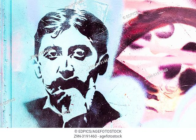 stencil portrait of french writer marcel proust, paris, ile de france, france
