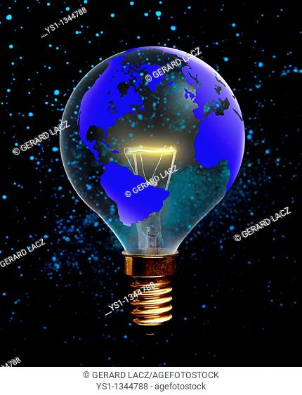 LIGHT BULB WITH THE EARTH PLANET, SYMBOLIC IMAGE