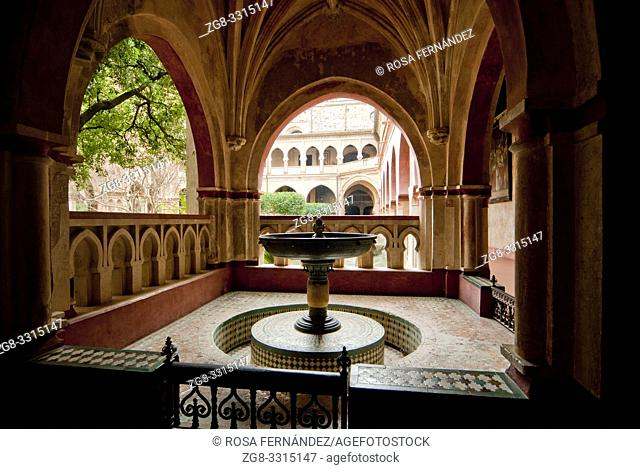 Mudejar Cloister, Royal Monastery of Santa Maria of Guadalupe, XIV Century, Guadalupe, province of Caceres, Extremadura, Spain