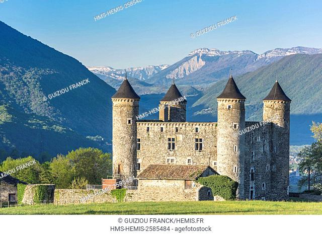 France, Isere, Jarrie, Bon Repos castle, a 15th century stronghold house, Vercors massif in the background