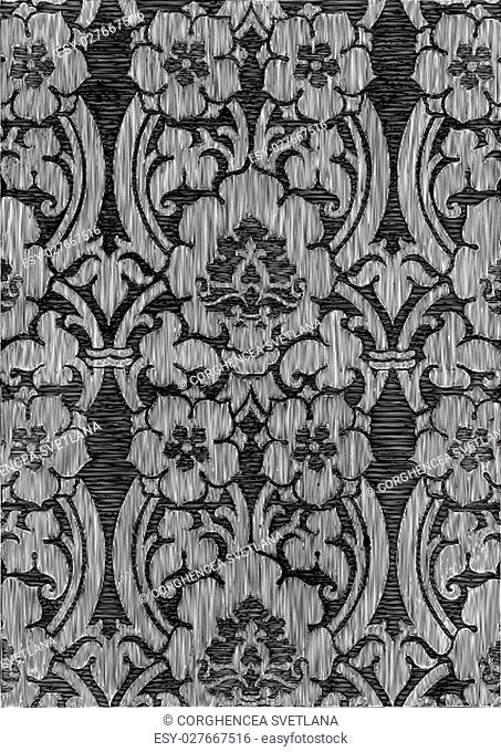 Black and white abstract striped floral pattern, vintage background. Seamless pattern can be used for wallpaper, pattern fills, web page background
