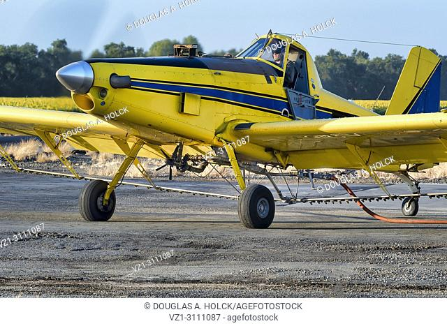 Crop duster reloading in Yolo County, CA