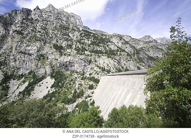 Cavallers dam reservoir in Boi valley Lerida Catalunya Spain