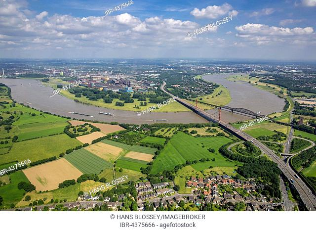 Aerial view, Rheinbogen, Rhine between Duisburg Baerl and Beeckerwerth, Flood, Railway Bridge, A42 motorway bridge, Duisburg, Ruhr district