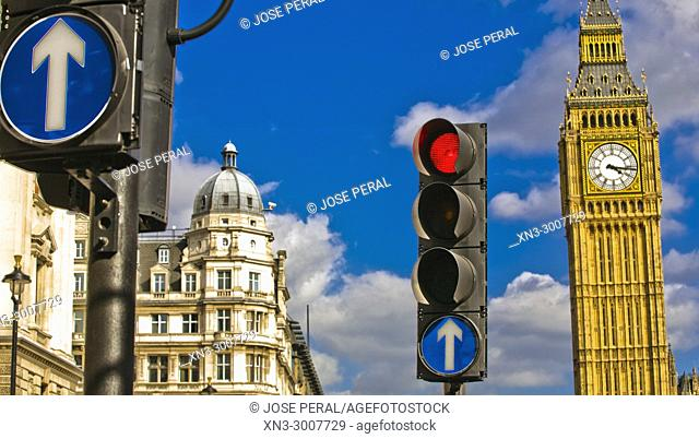 Traffic light in red and mandatory signs, Elizabeth Tower, Big Ben, Clock tower, City of Westminster, London, England, UK, United Kingdom, Europe