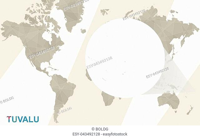 Zoom on Tuvalu Map and Flag. World Map