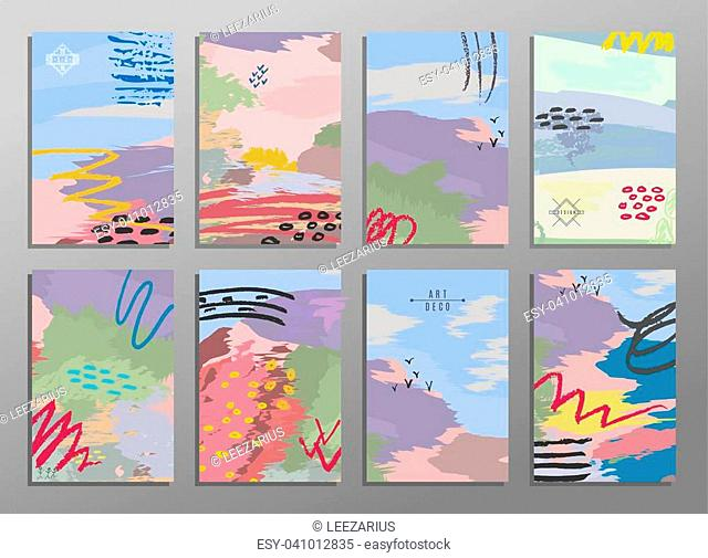 Set of abstract hand draw creative universal cards. Design for paty poster, wedding card background, invitation, birthday, placard, brochure, flyer