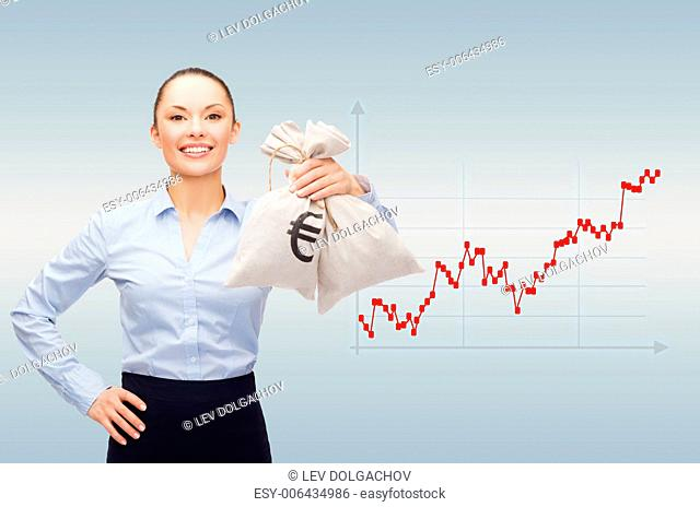 business, money and people concept - smiling businesswoman in eyeglasses holding money bags with dollar over gray background and forex graph