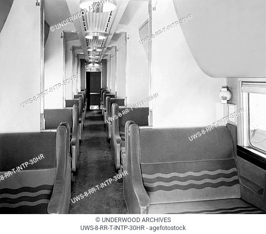 United States: c. 1938 One of the Pullman cars on the Chicago, Burlington & Quincy's (CB&Q) new stainless steel Denver Zephyr train