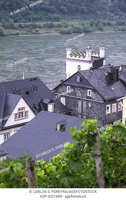 The village of Kaub on the banks of the river Rhine in the castle area UNESCO World Cultural Heritage Site, Upper Middle Rhine Valley, Rhineland-Palatinate