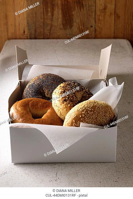 Box of various bagels