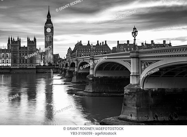 The Elizabeth Tower (Big Ben) and River Thames, London, UK