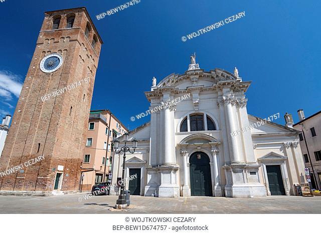 Saint Andrews Church and the Clock Tower in Chioggia, Venice, Veneto, Italy