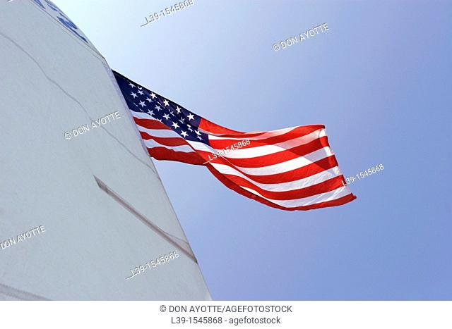 American Flag that is sewn on to a sail
