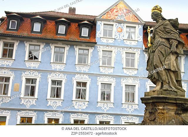 Queen Kunigunda Statue on the Alte Rathaus bridge Bamberg Germany