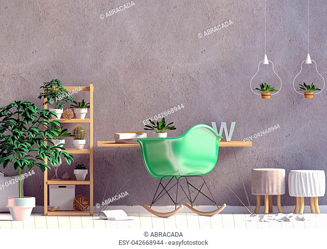 Modern interior in the style scandinavian, a place for study. 3D illustration. Wall mock up
