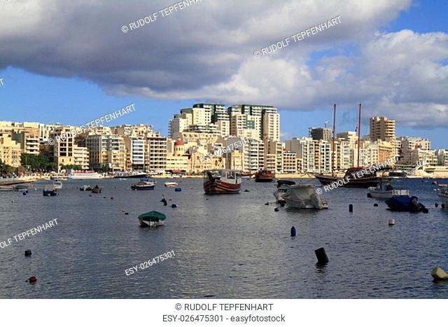 View of Sliema and boats in Sliema Creek, Malta