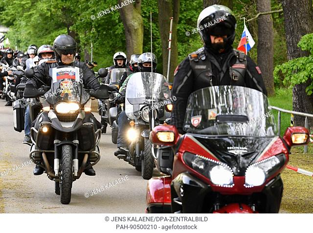 The Russian motorcycle club 'Night Wolves' and other clubs arrive at the grounds of the Soviet War Memorial in the district of treptow in Berlin, Germany