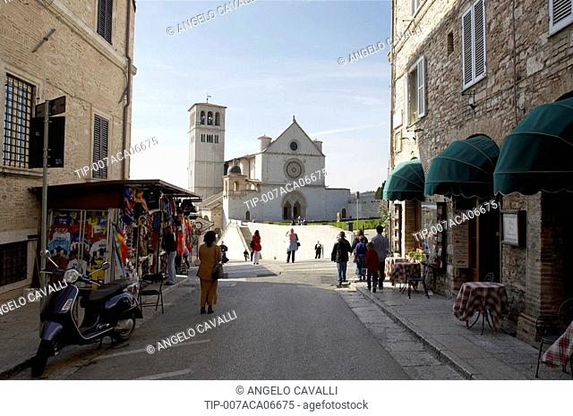 Italy, Umbria, Assisi, The Cathedral of San Francesco of Assisi