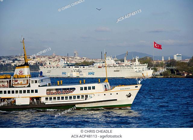 Busy waterways on the Golden Horn looking towards the Bosphorus, Istanbul, Turkey