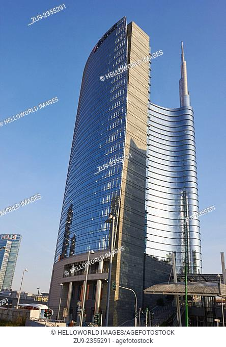 The Unicredit Tower in Milan's Porta Nuova district by Cesar Pelli is the tallest building in Italy
