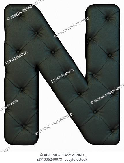 Luxury black leather font N letter