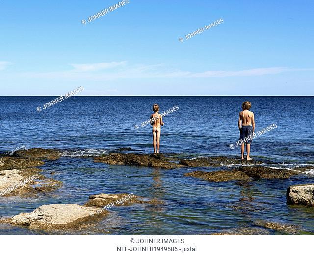 Boys at sea, Gotland, Sweden