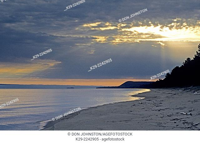 Morning light on Lake Superior shore , Brimley State Park, Michigan, USA