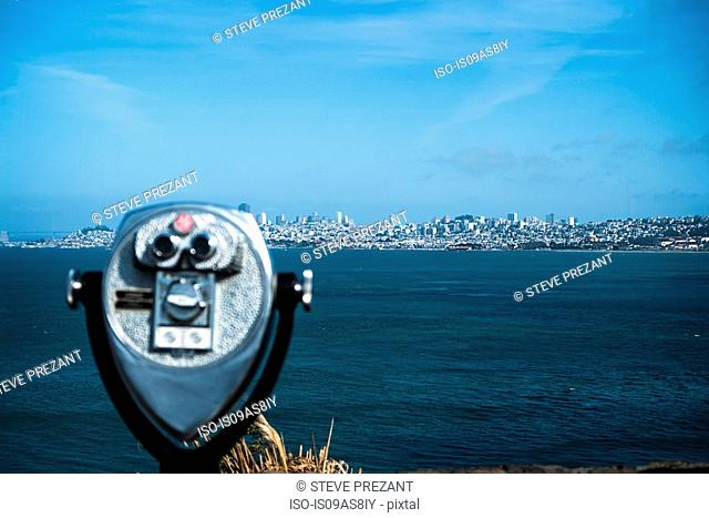 Coin-operated binoculars, skyline in background, San Francisco, California, USA