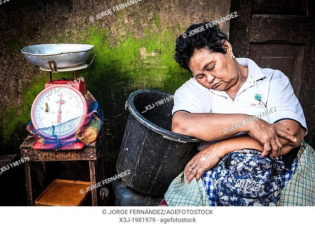 Woman having a nap waiting for clients, Carbon market, Cebu, Philippines, South East Asia