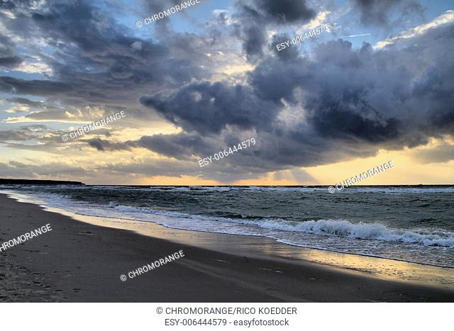 Evening on shore of the Baltic Sea